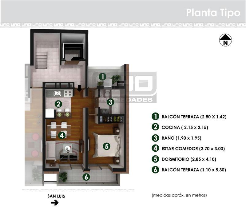 Venta departamento 1 dormitorio rosario san luis y maipu for Casa clasica procrear 1 dormitorio