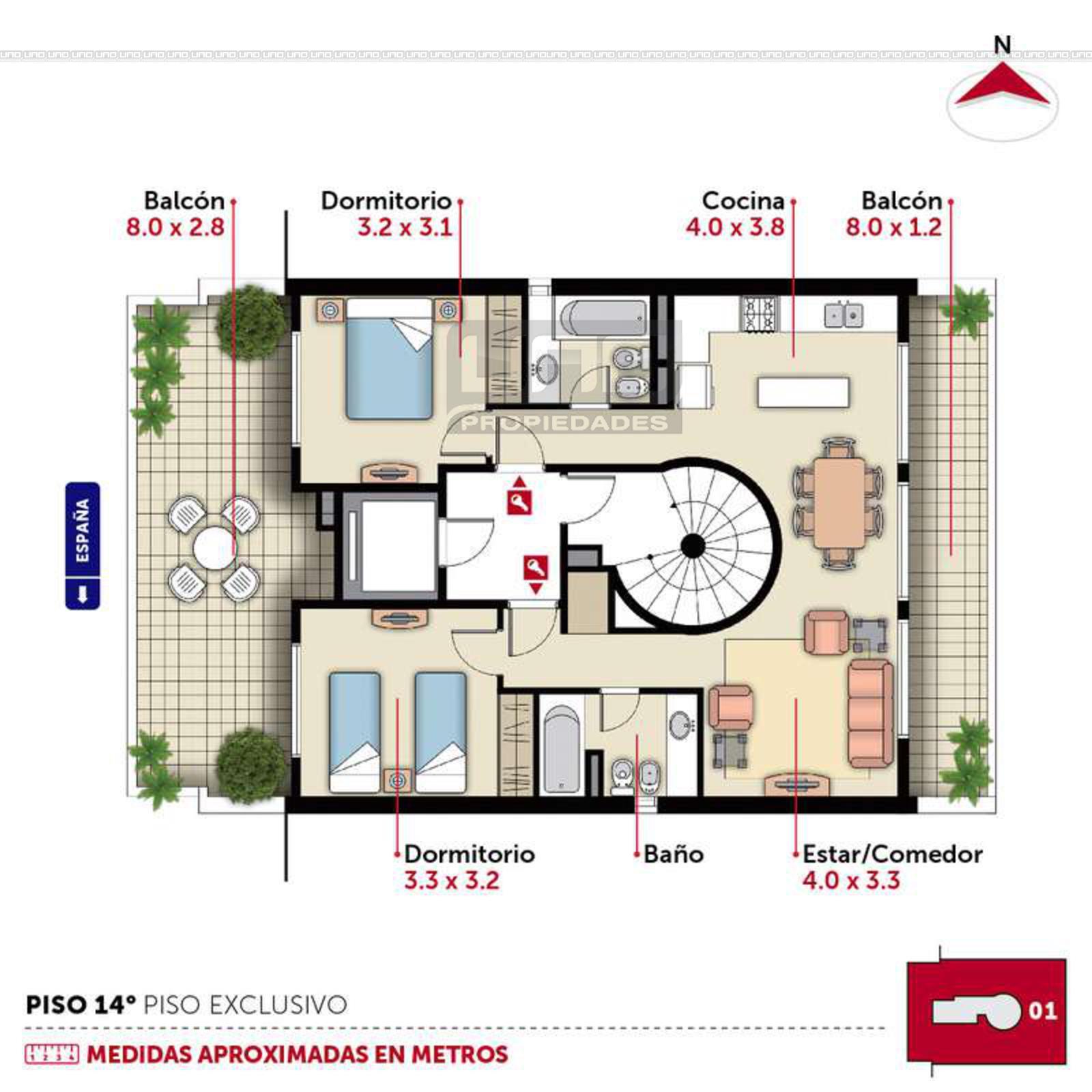 Plano de departamento de 1 dormitorio con balcon for Plano departamento 2 dormitorios