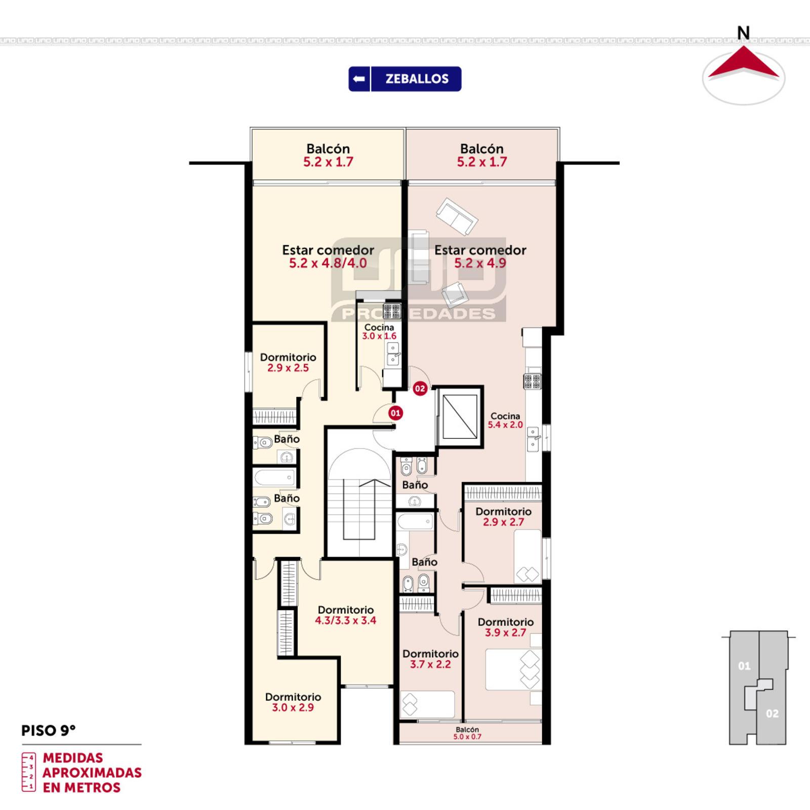 Venta departamento 2 3 dormitorios rosario zeballos y j for Dormitorio 12 metros cuadrados