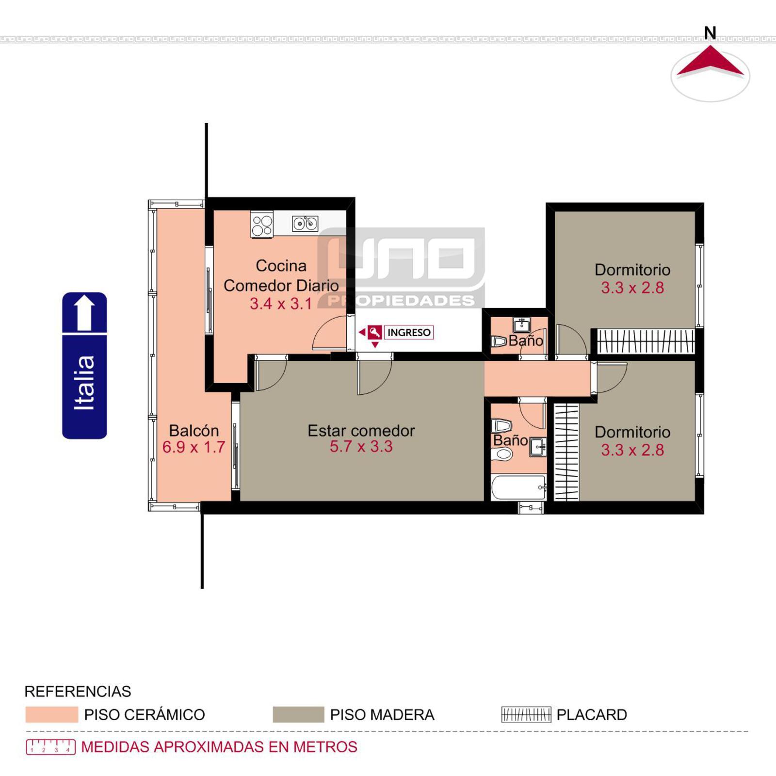 Venta departamento 2 dormitorios rosario italia y 9 de for Comedor 9 de julio